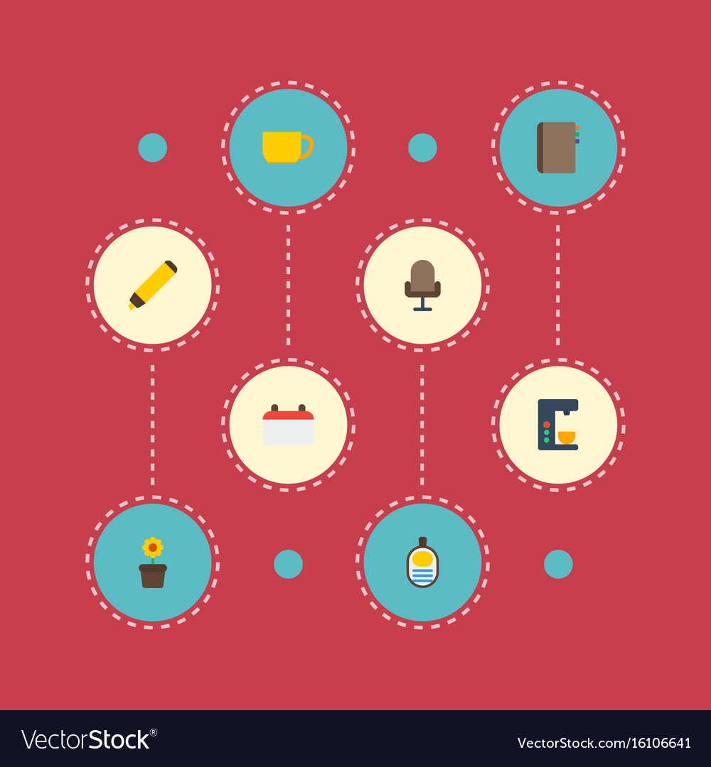 Flat icons contact date espresso machine and vector image