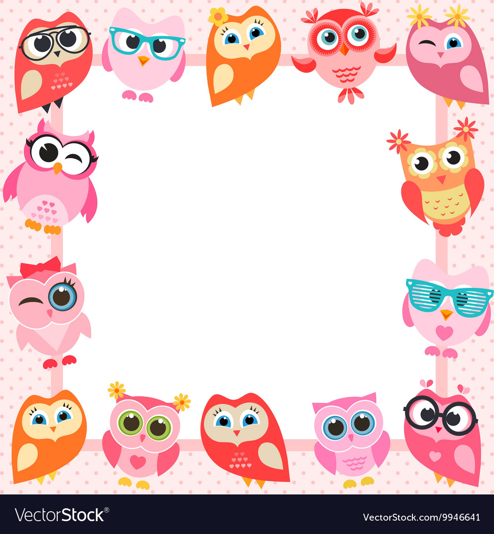 Frame with funny owls Royalty Free Vector Image