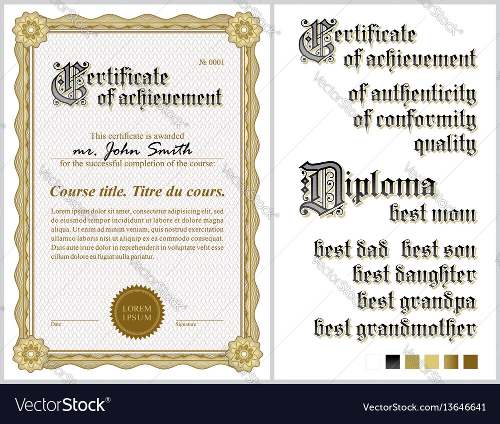 Gold certificate template guilloche vertical vector image yelopaper Images