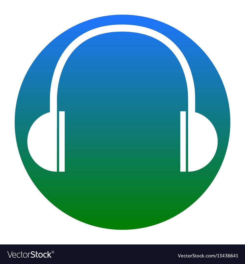 Headphones sign white icon vector image