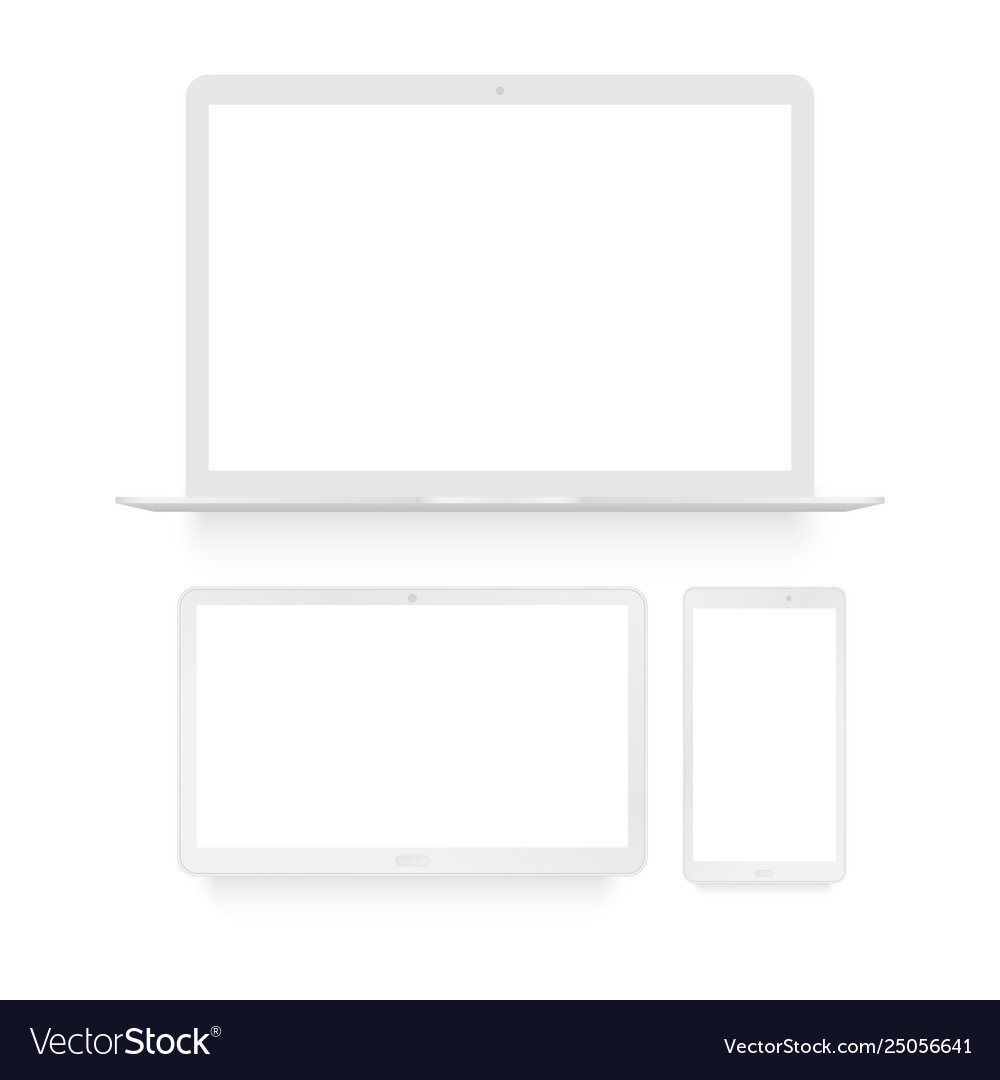Laptop tablet and smart phone white mock up