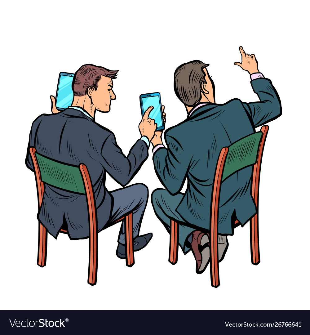 Meeting businessman with smartphone