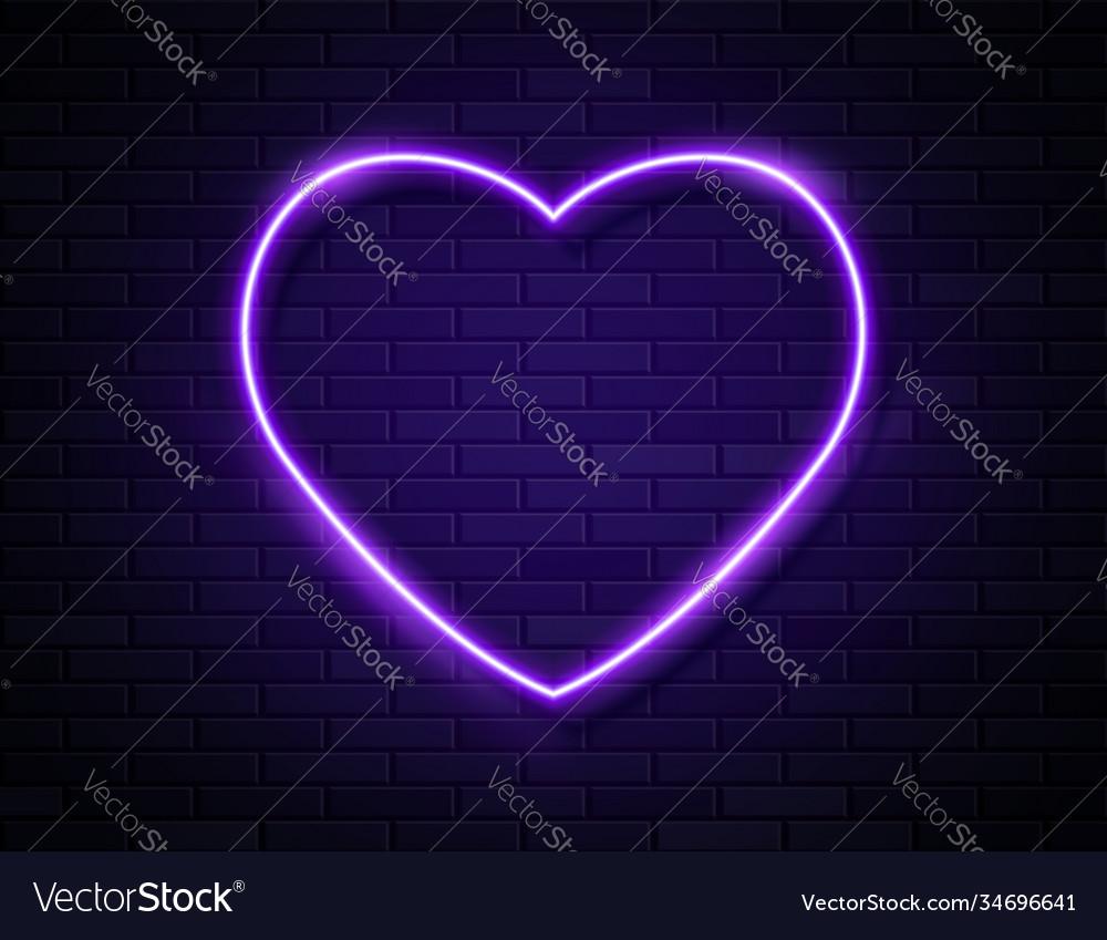 Neon violet glowing heart banner on dark empty
