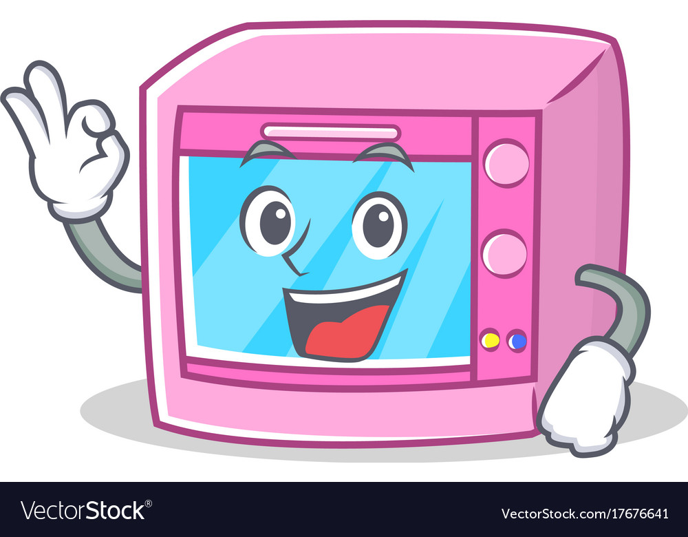 okay oven microwave character cartoon royalty free vector