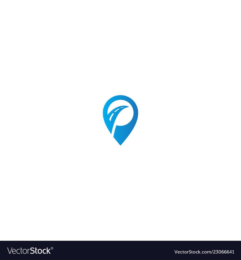 Pin mark road trip logo
