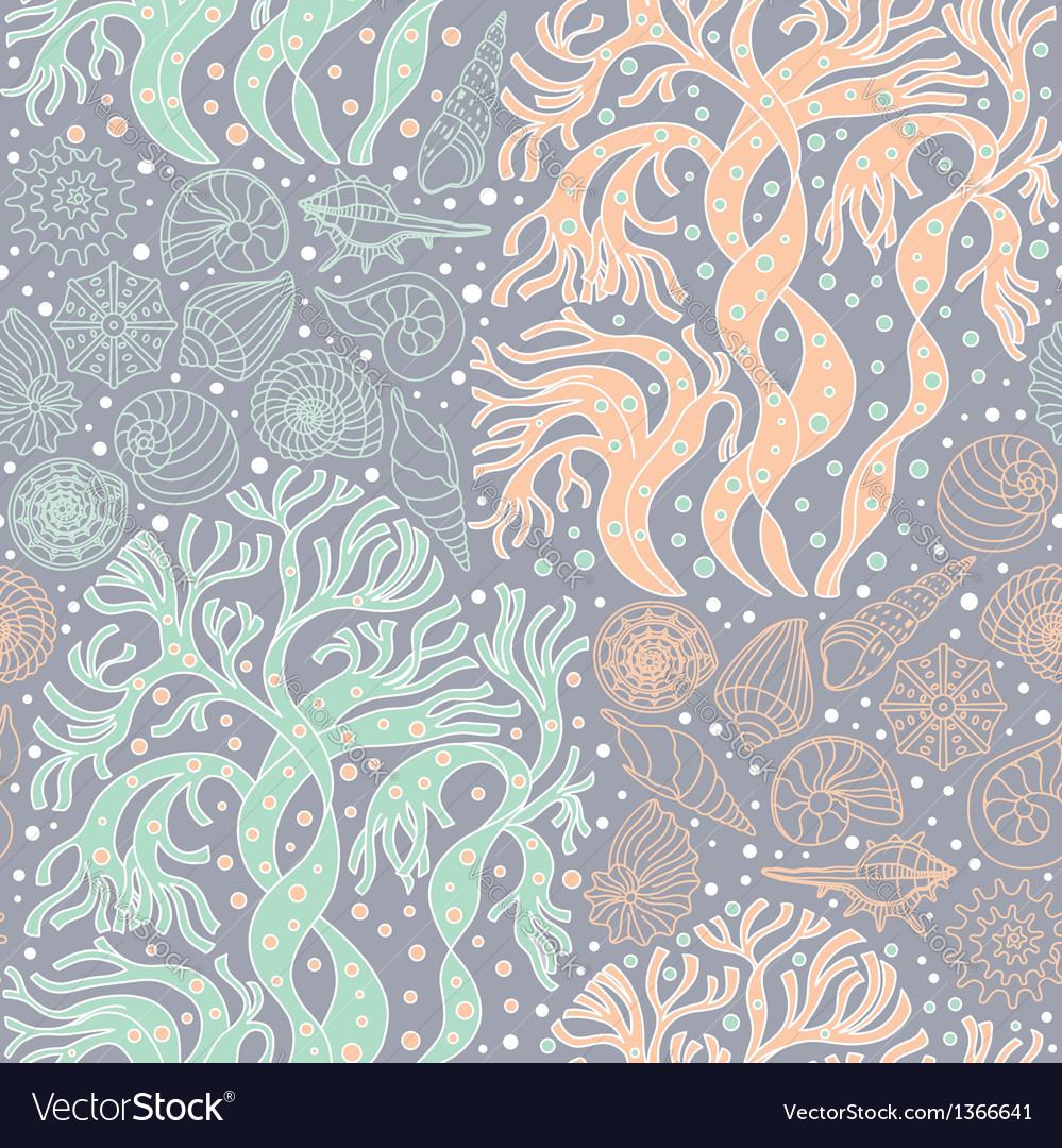 Seamless pattern with algae and seashells
