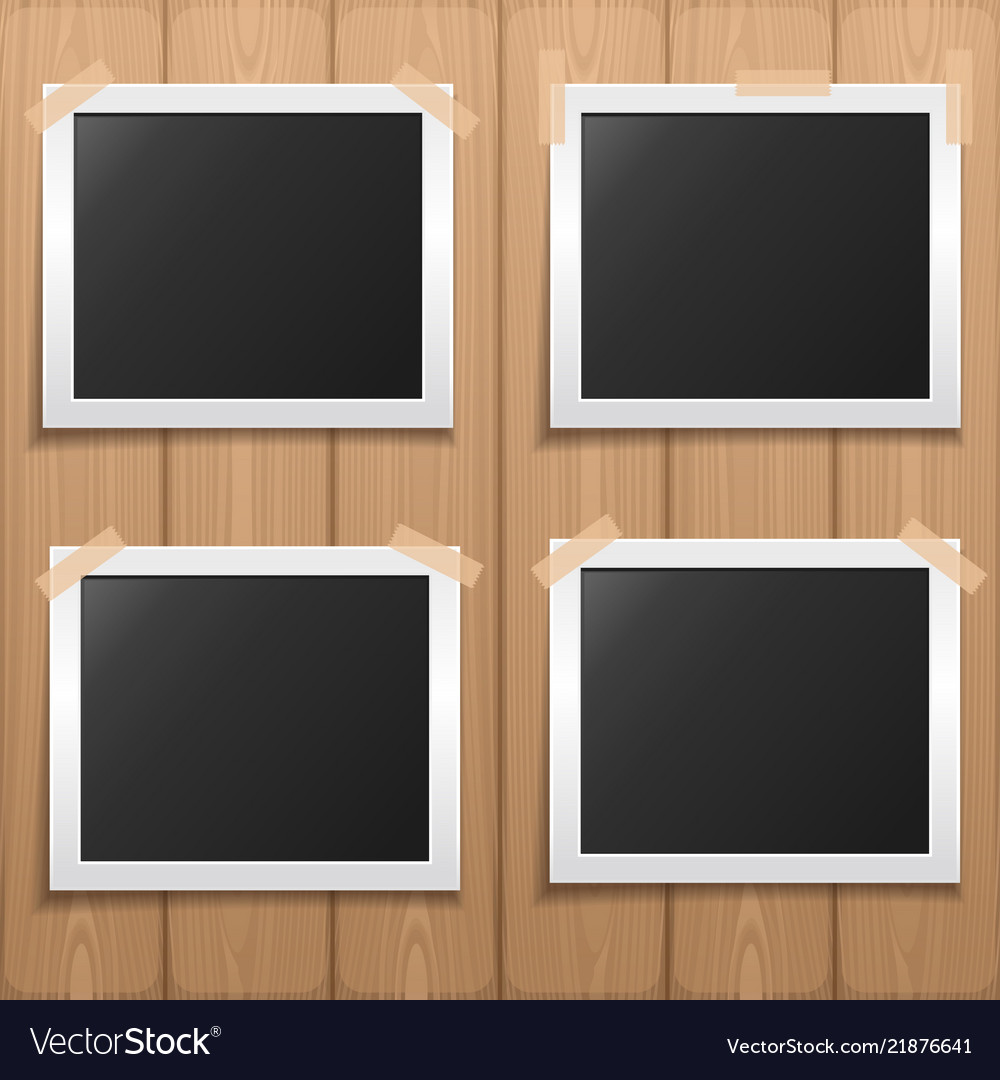 Set photo frame placed on a wooden background