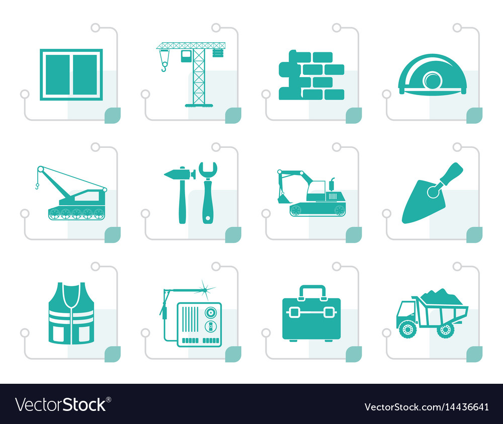 Stylized building and construction icons