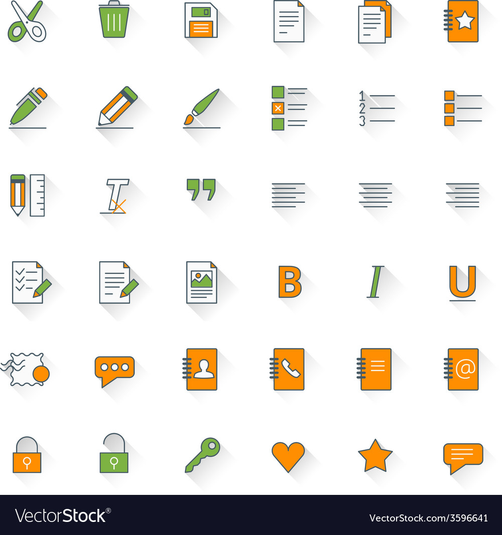 text formatting flat design icon set document pen vector image