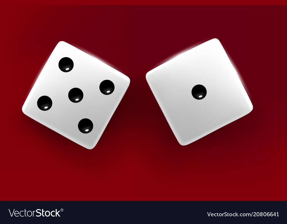Top view of white dice casino dice on red