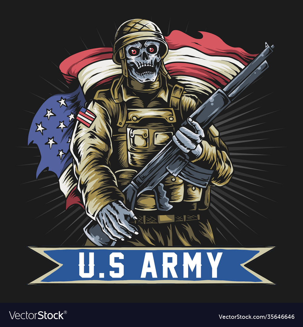 American soldier with skull face