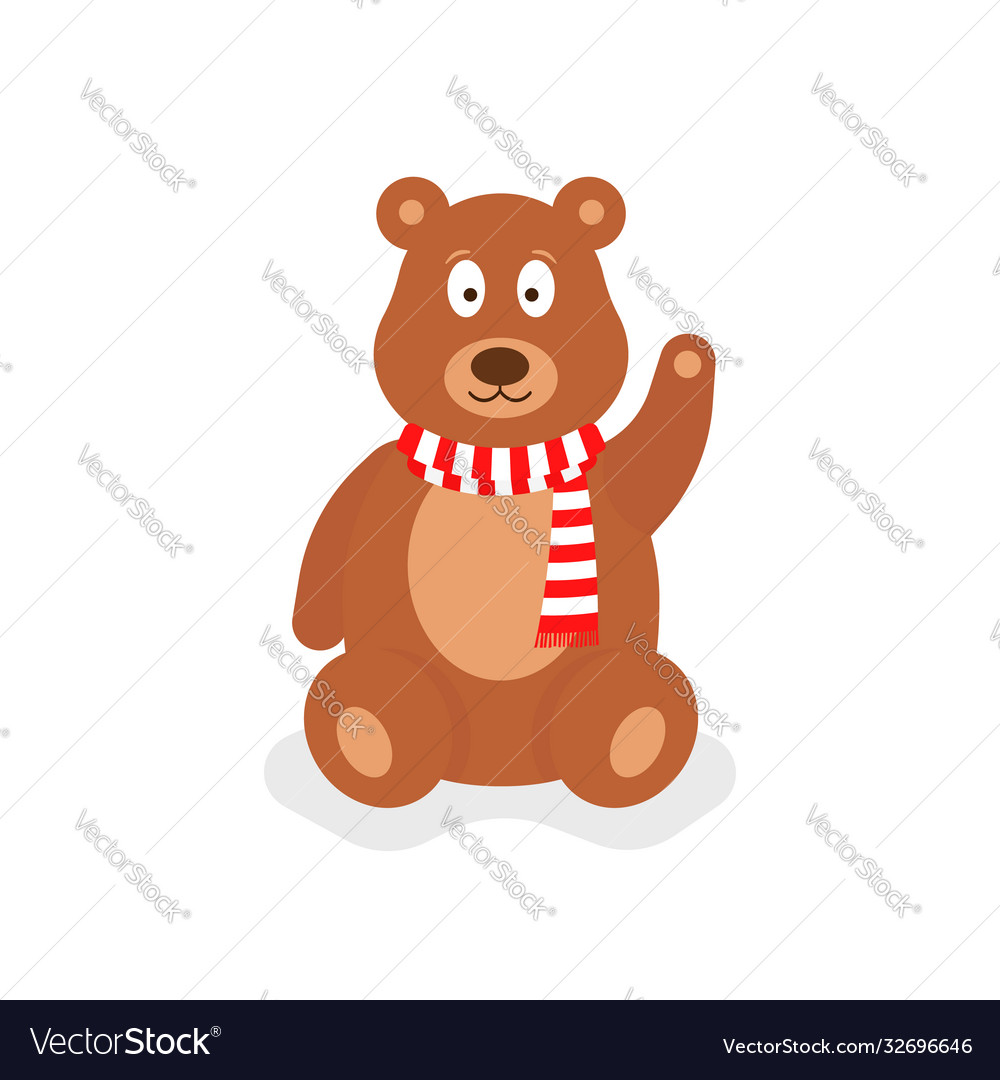 Cartoon teddy bear with red scarf