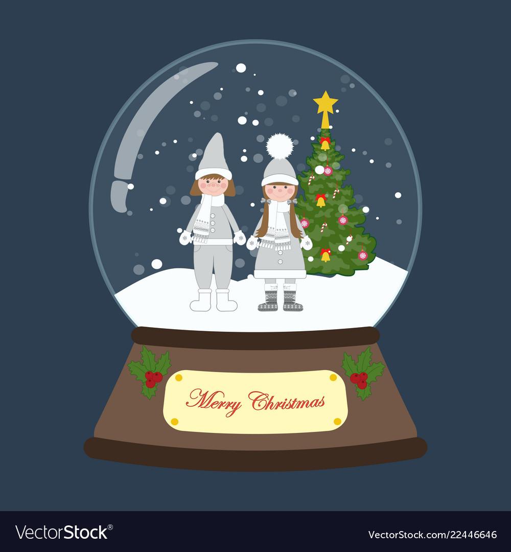 Christmas snow globe with children around