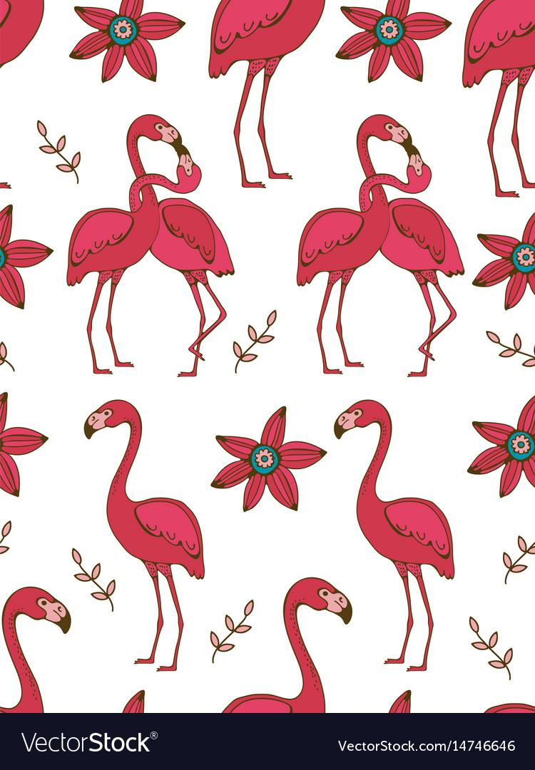 Flamingo couple kissing colorful seamless pattern