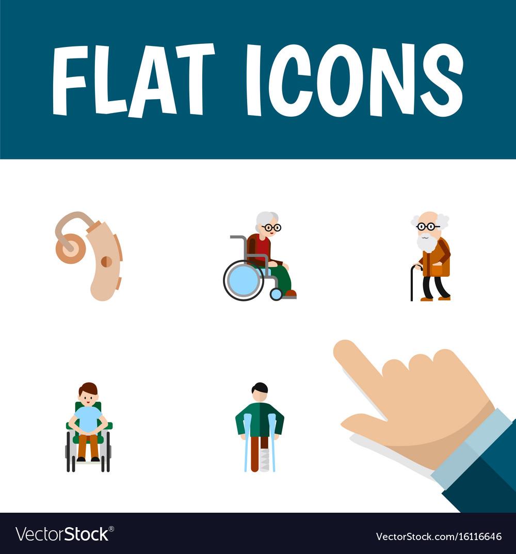 Flat icon cripple set of wheelchair audiology