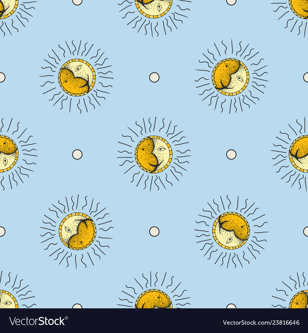 Hand drawn sun and moon seamless pattern doodle