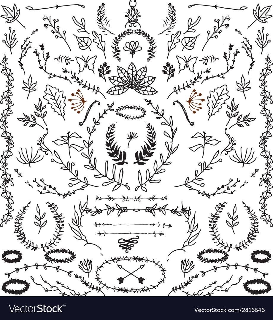 Hand drawn vintage design elements