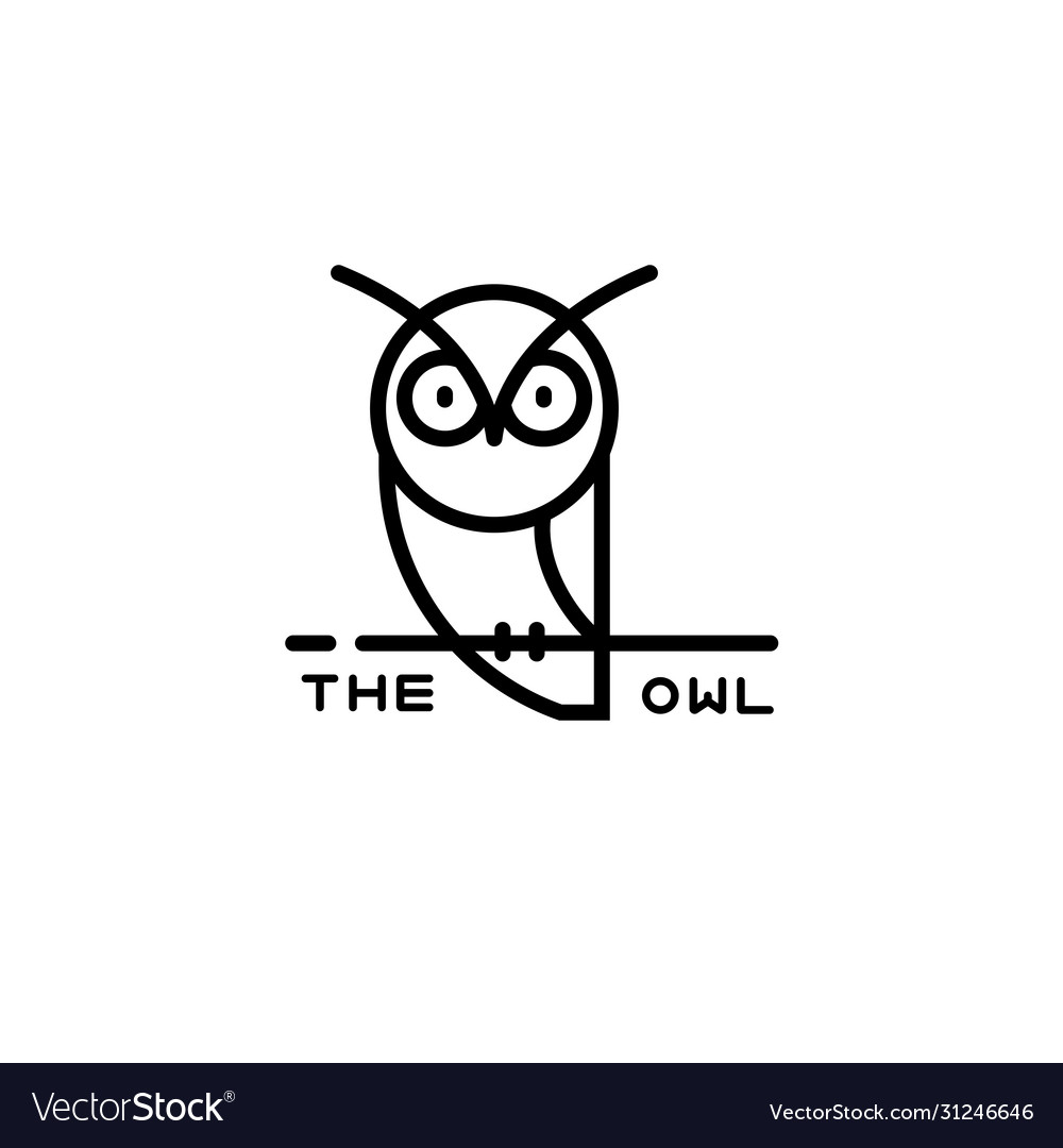 Icon or owl logo in thin line style