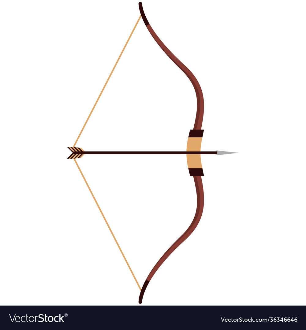 Indian arrow and bow isolated on white