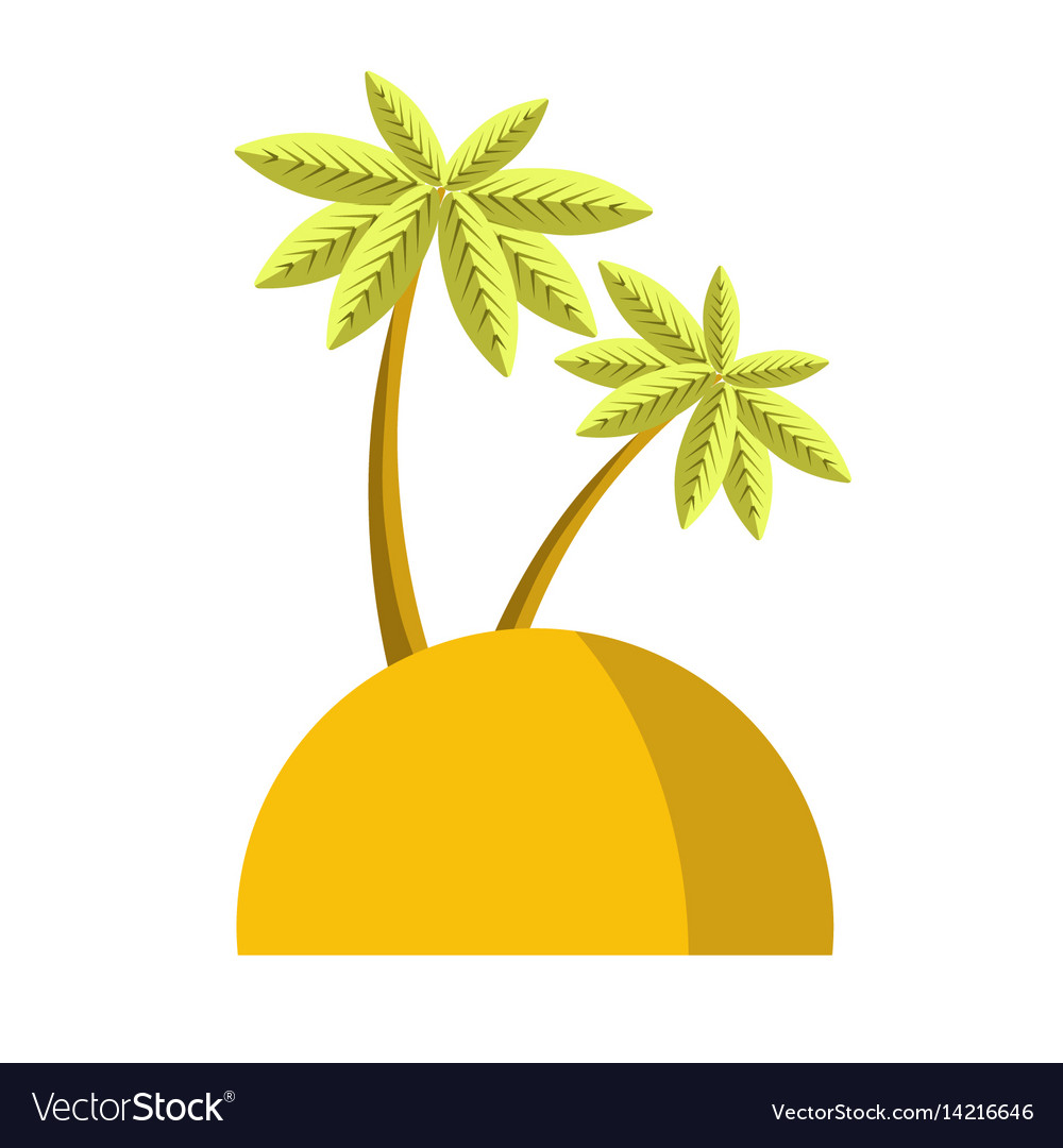 Island with palm icon isolated