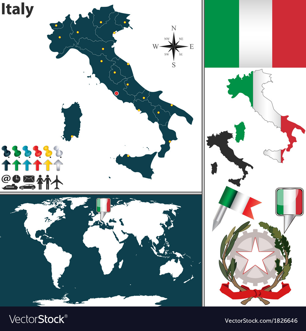 Italy map world
