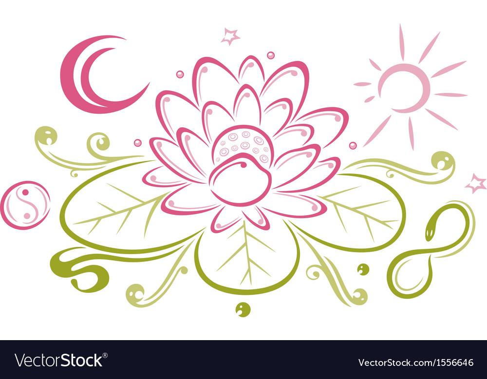 Lotus Floral Element Yin Yang Royalty Free Vector Image