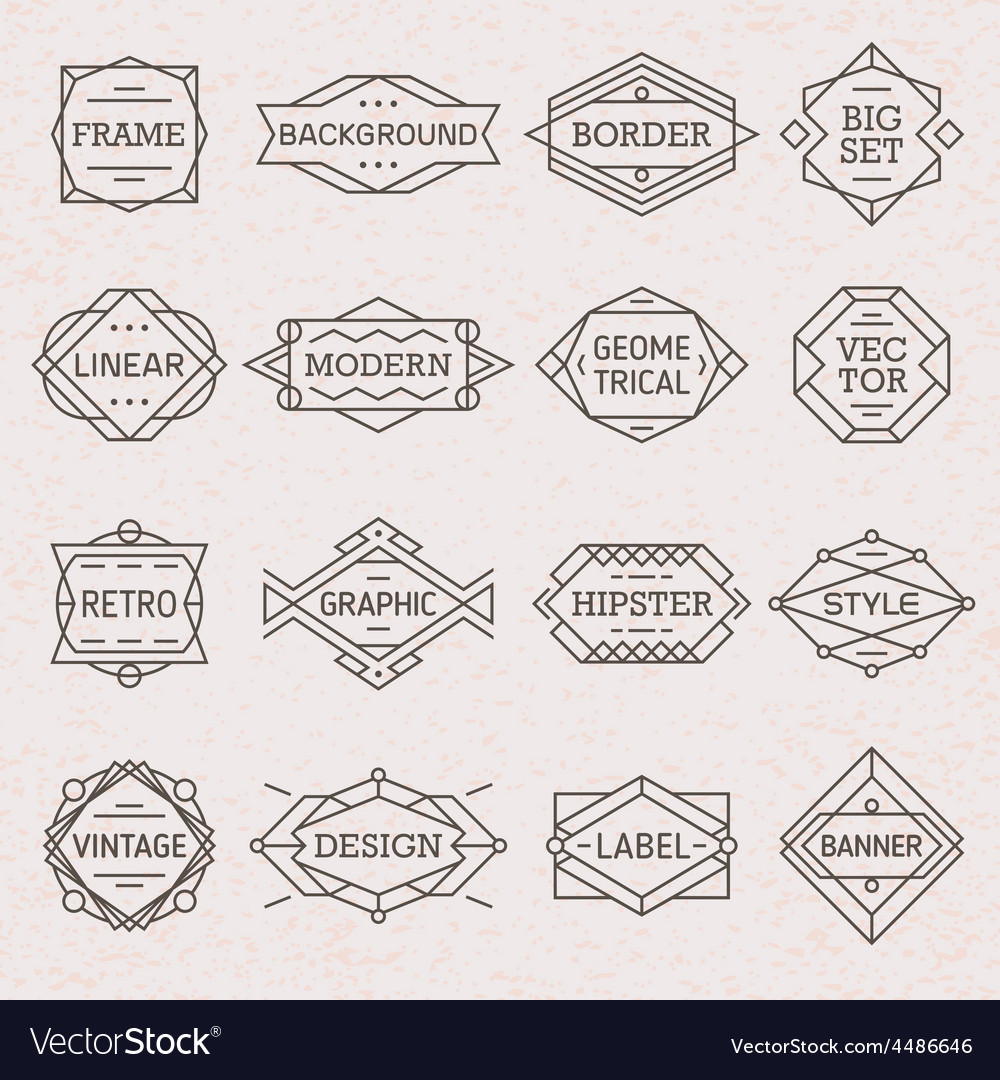 Modern Hipster Linear Frames Borders vector image on VectorStock