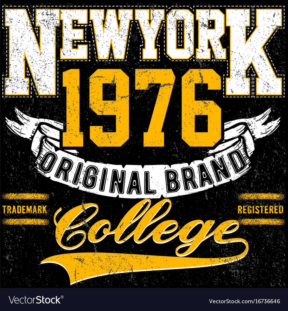 Newyork typography vintage college brand logo
