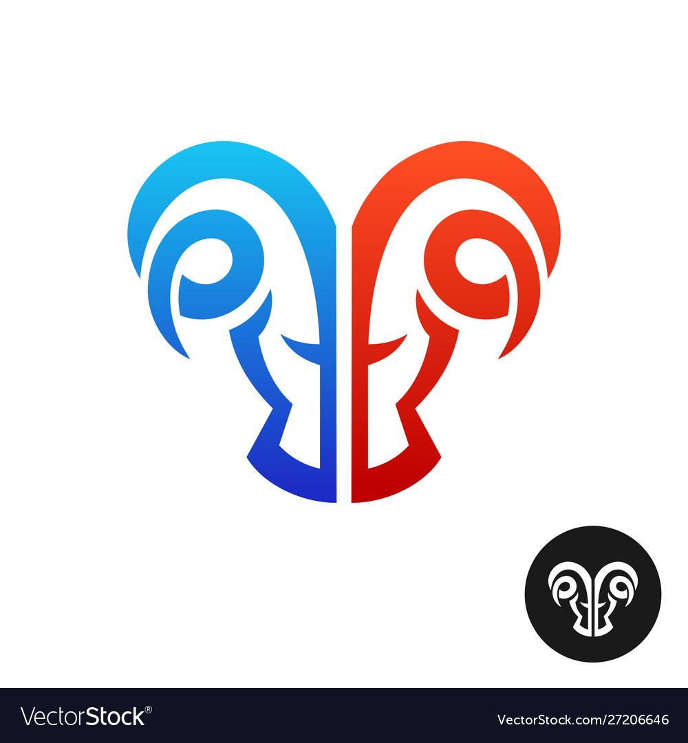 Ram head logo creative serious twins symbol