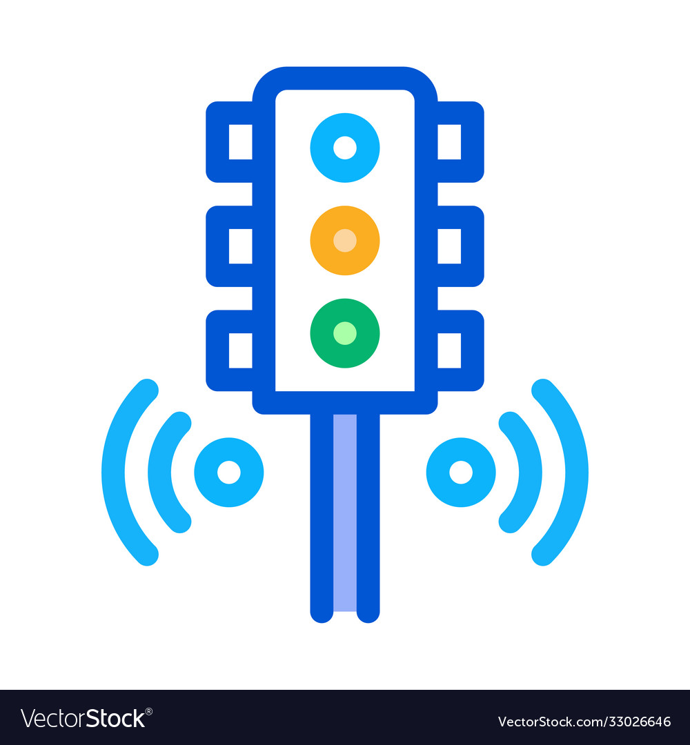 Smart city traffic lights icon outline