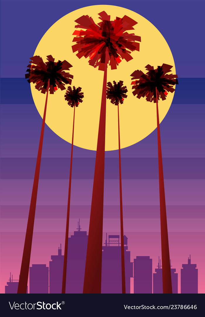 Summer beatiful sunset backgrounds with palms