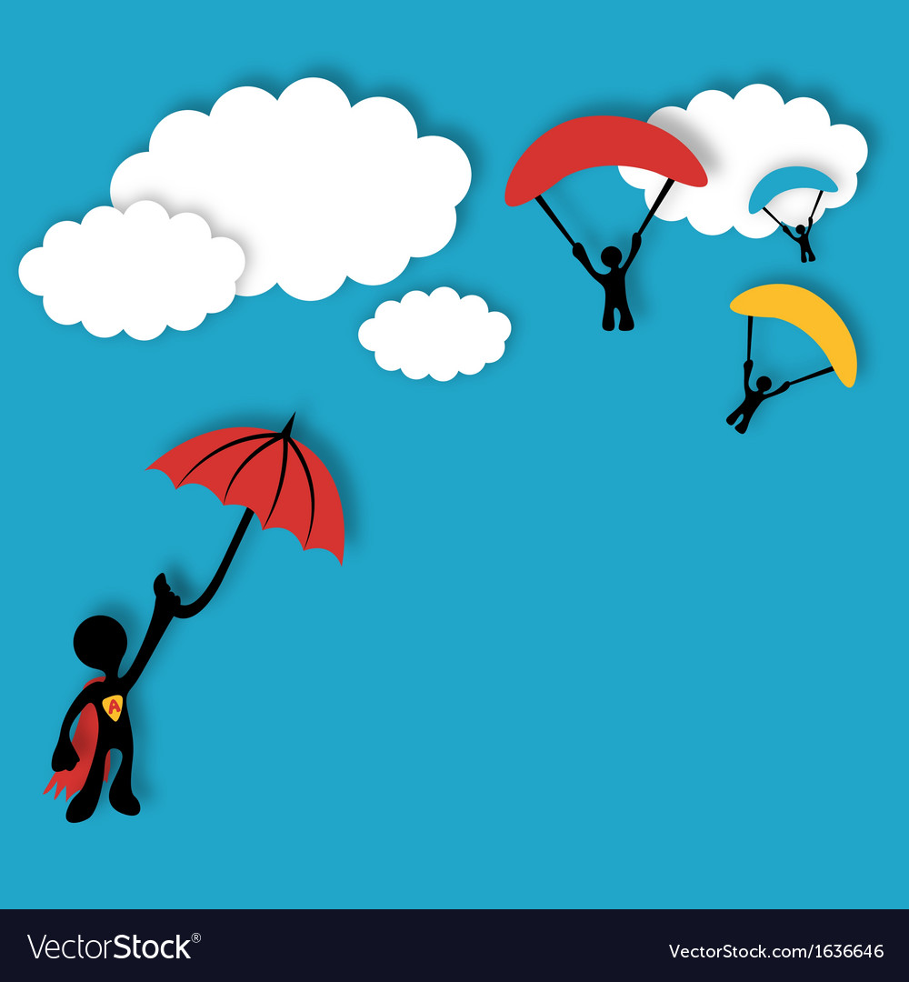 Superhero flying in the clouds vector image