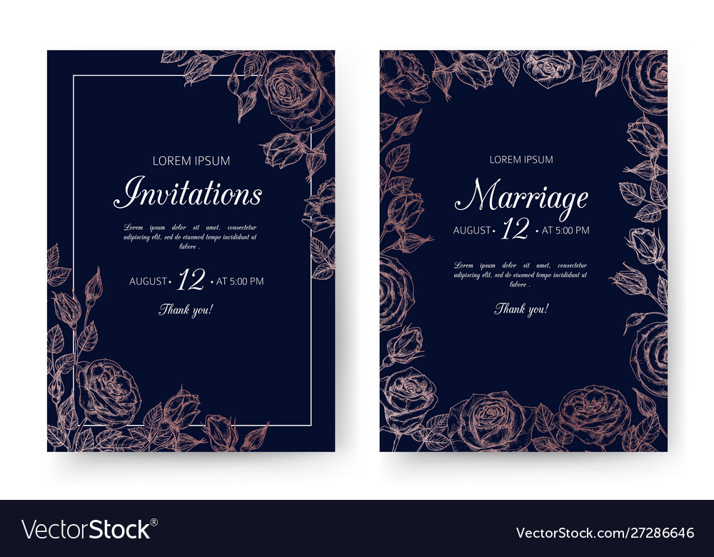 Wedding invitation floral wedding cards with rose