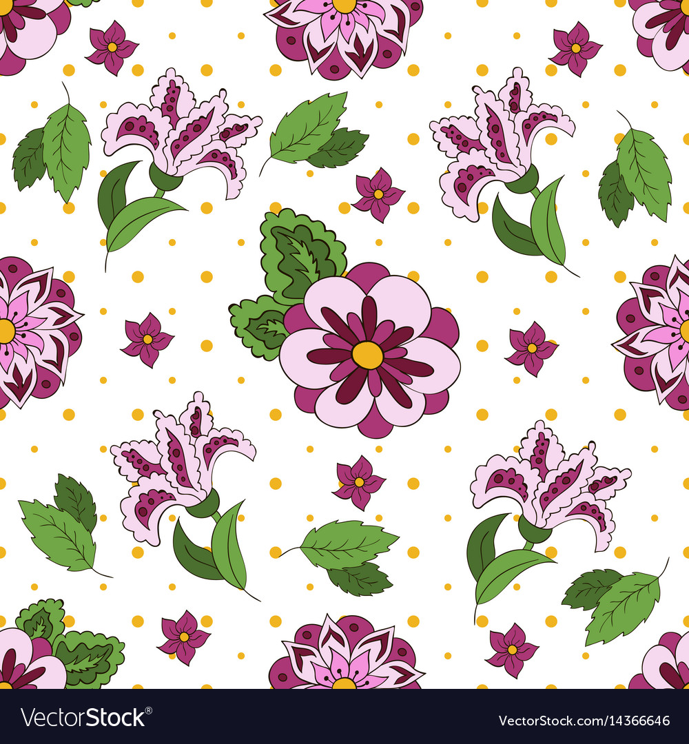White seamless pattern with spring flowers cover vector image mightylinksfo