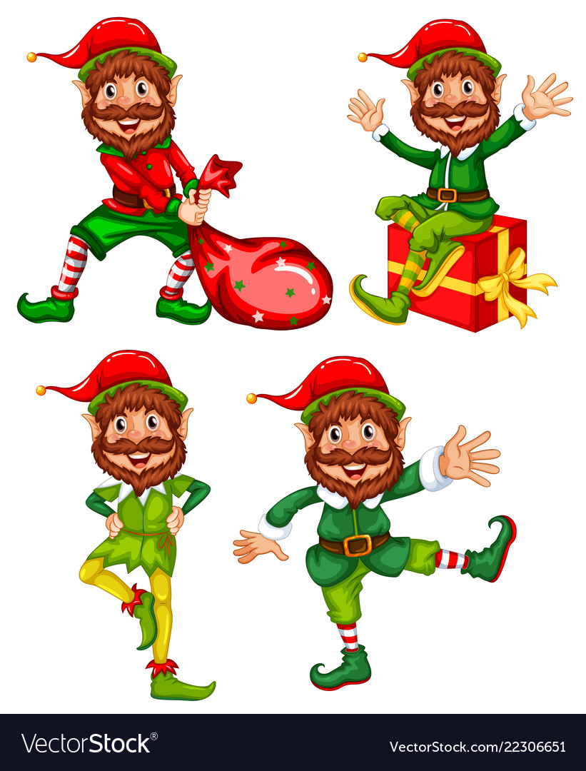 A set of christmas elf Royalty Free Vector Image