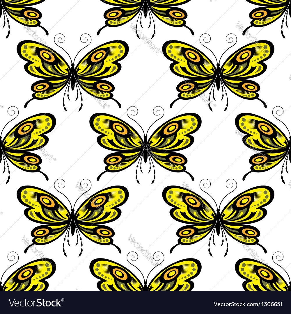 Bright colored butterflies seamless pattern