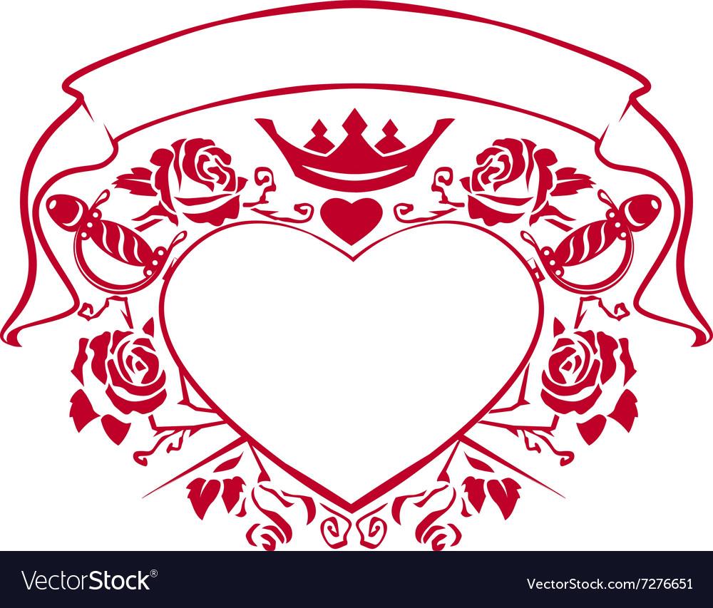 Emblem of love - shape heart dagger crown