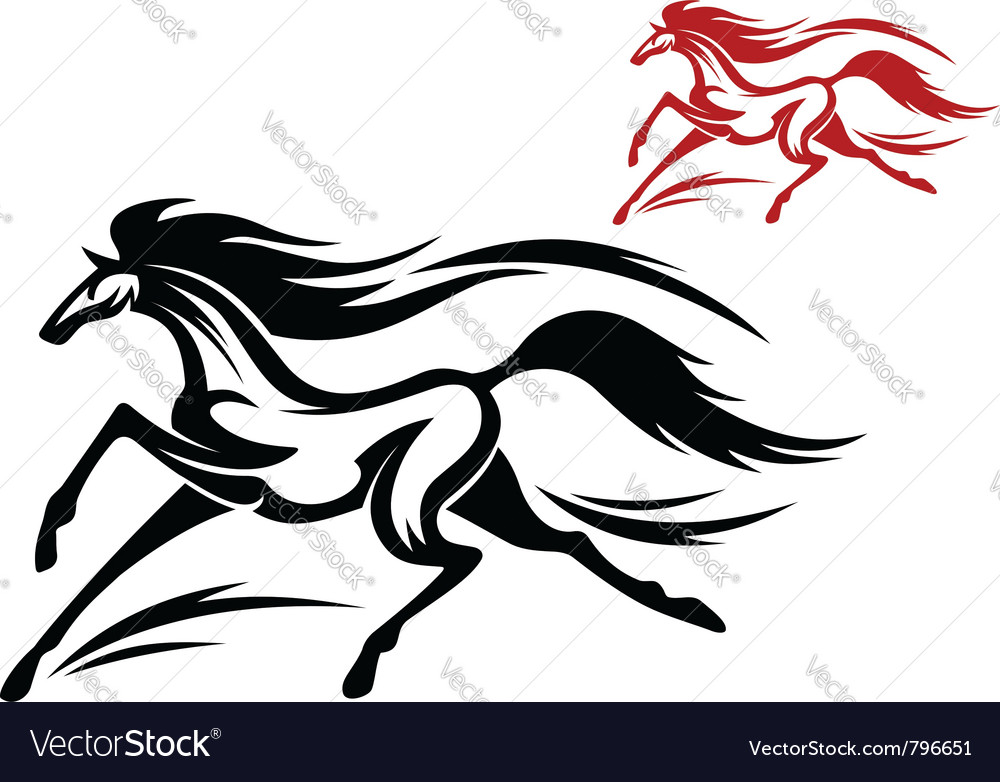 Fast running horse vector image
