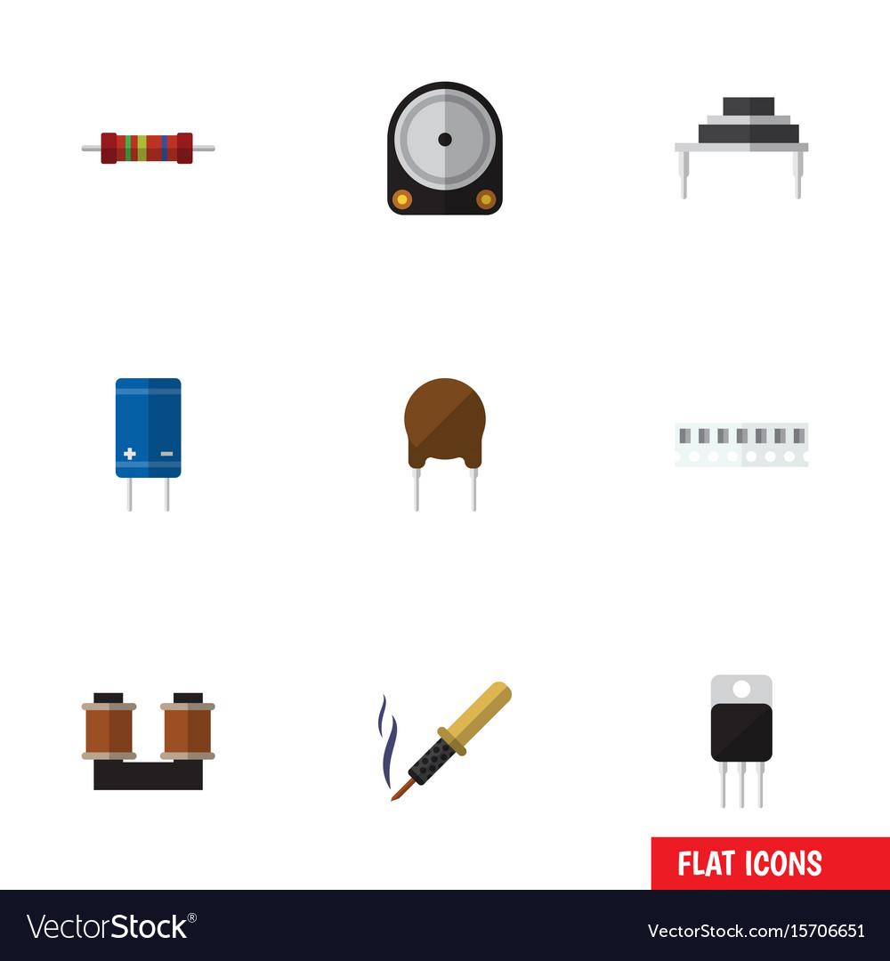 Flat icon electronics set of transistor