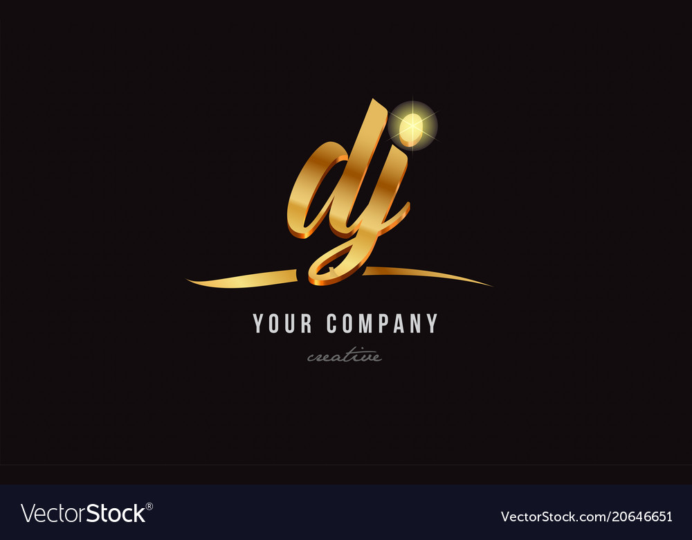 gold alphabet letter dj d j logo combination icon vector image
