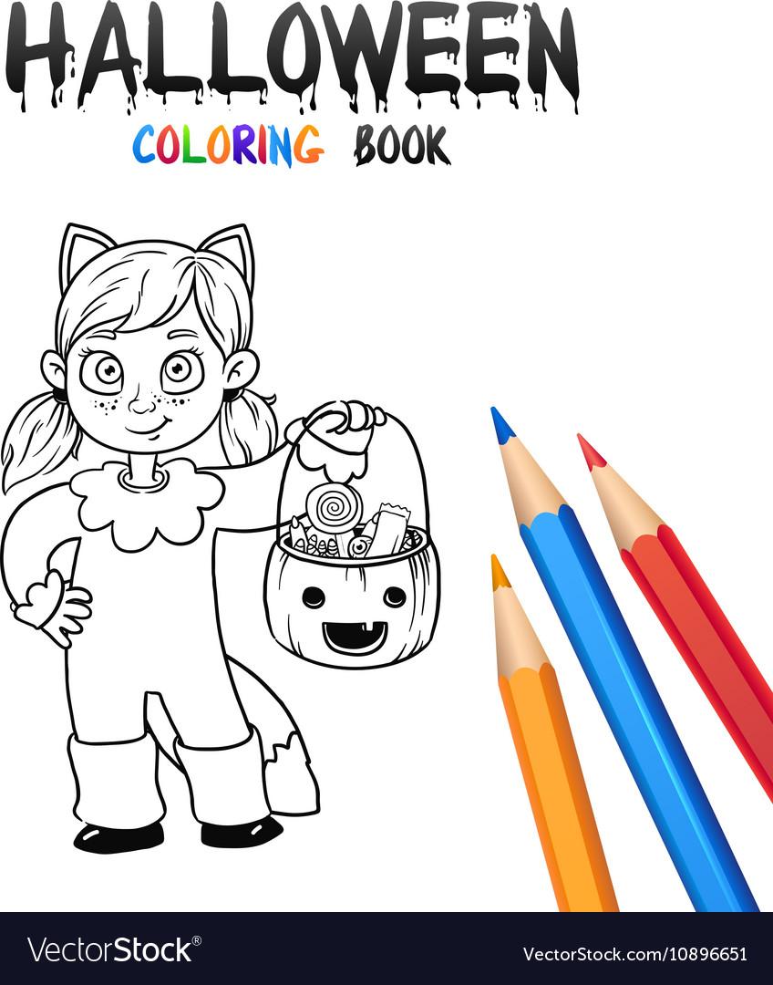 Halloween Coloring Book Cute Baby Cartoon Vector Image