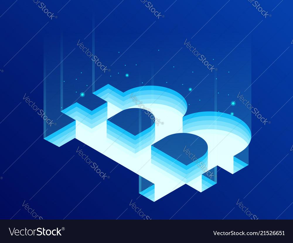Isometric bitcoin bit cryptocurrency mining farm