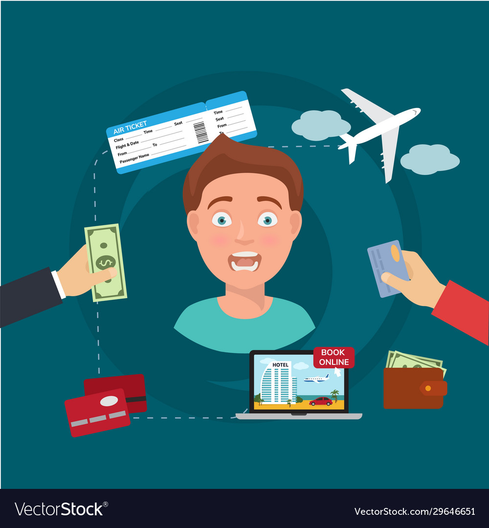 Man tourist or agent booking travel buying