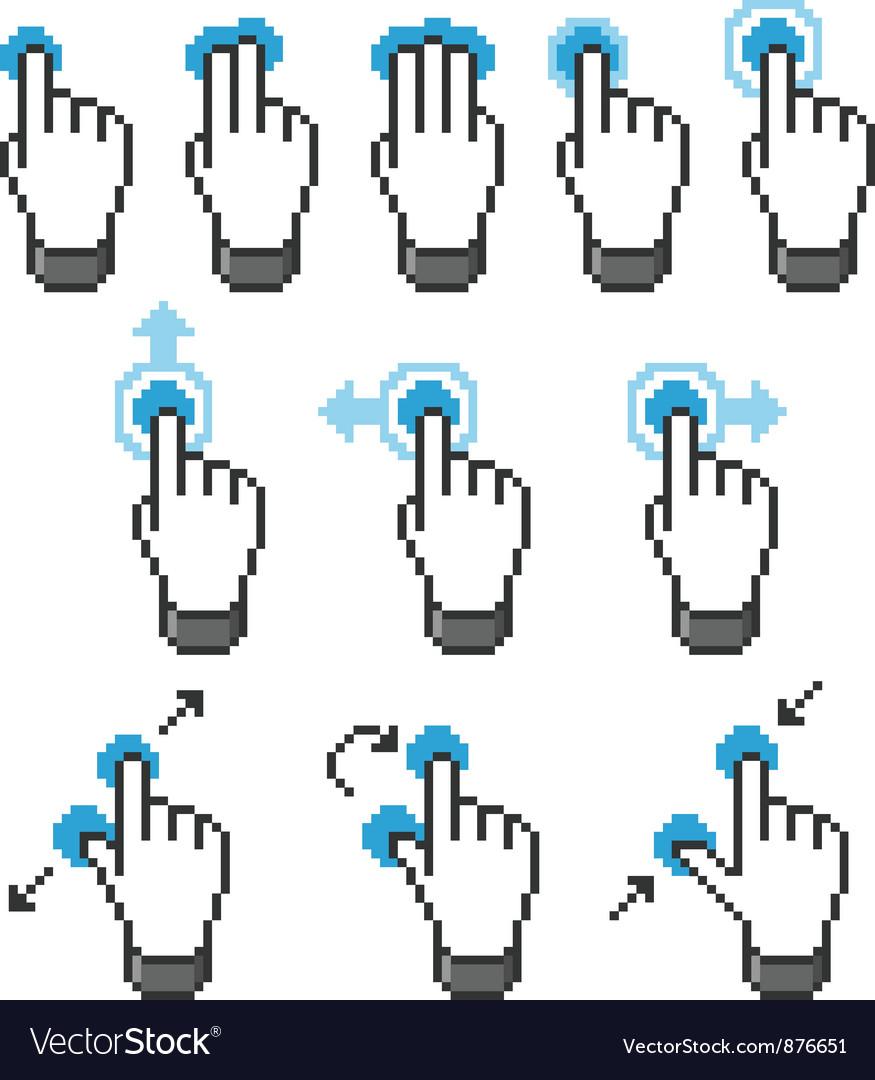 Pixel touch screen gestures vector image