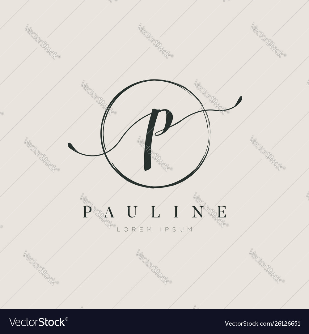 Simple elegant initial letter type p logo sign