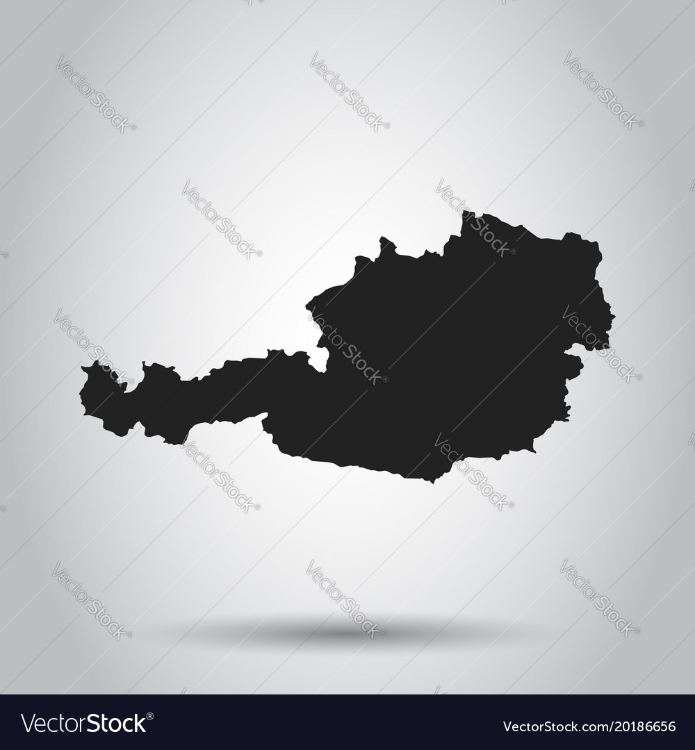 Austria map black icon on white background