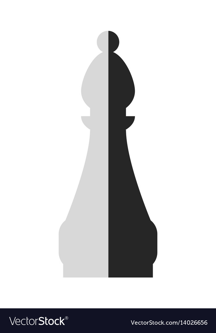 Bishop flat black and white icon object of chess