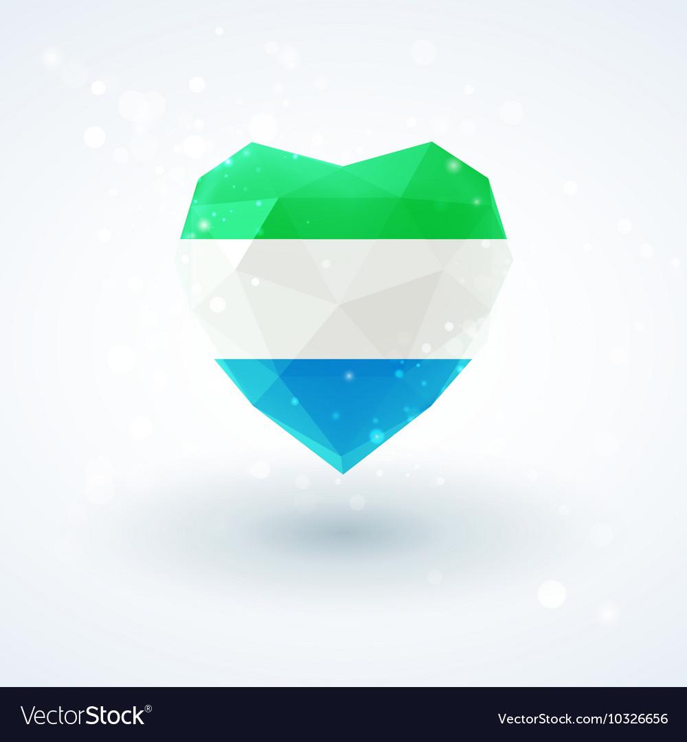 Flag of Sierra Leone in shape diamond glass heart