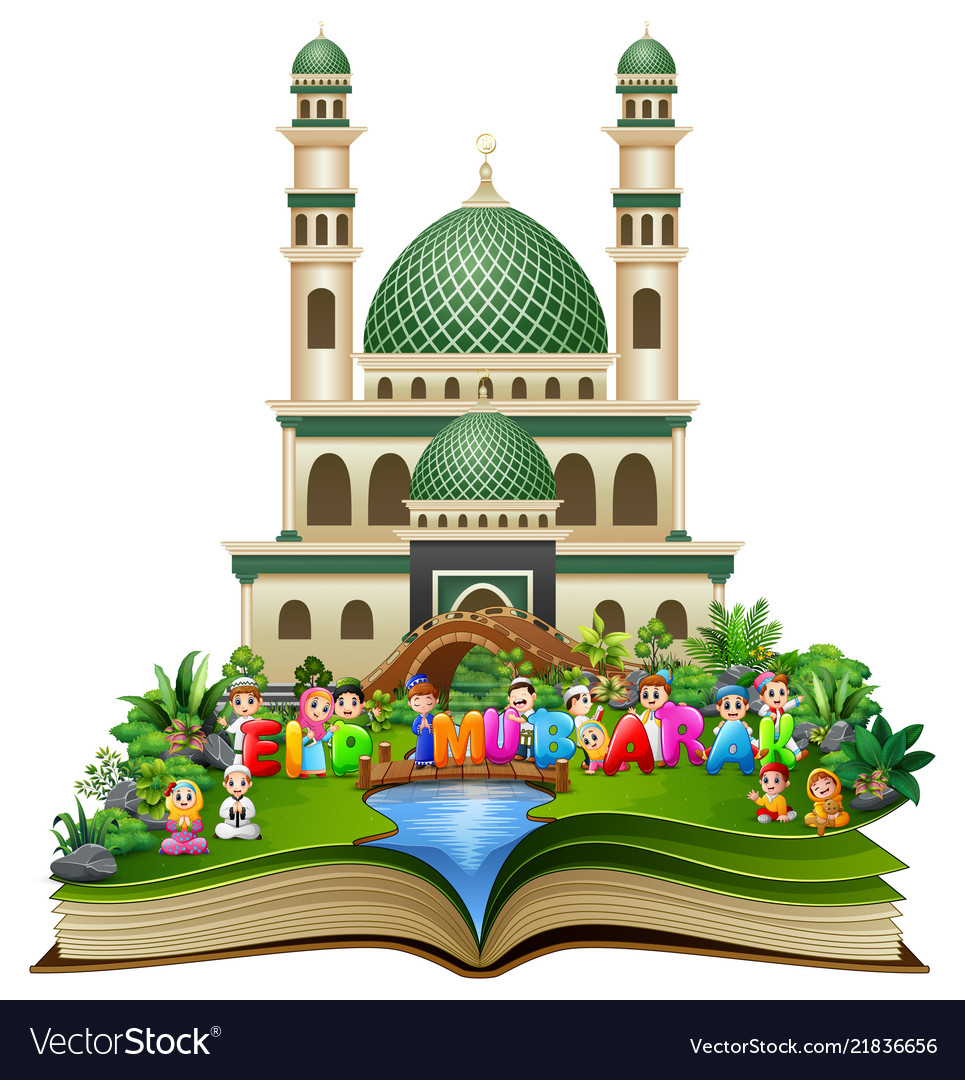 Open book with happy islamic kids and colorful tex