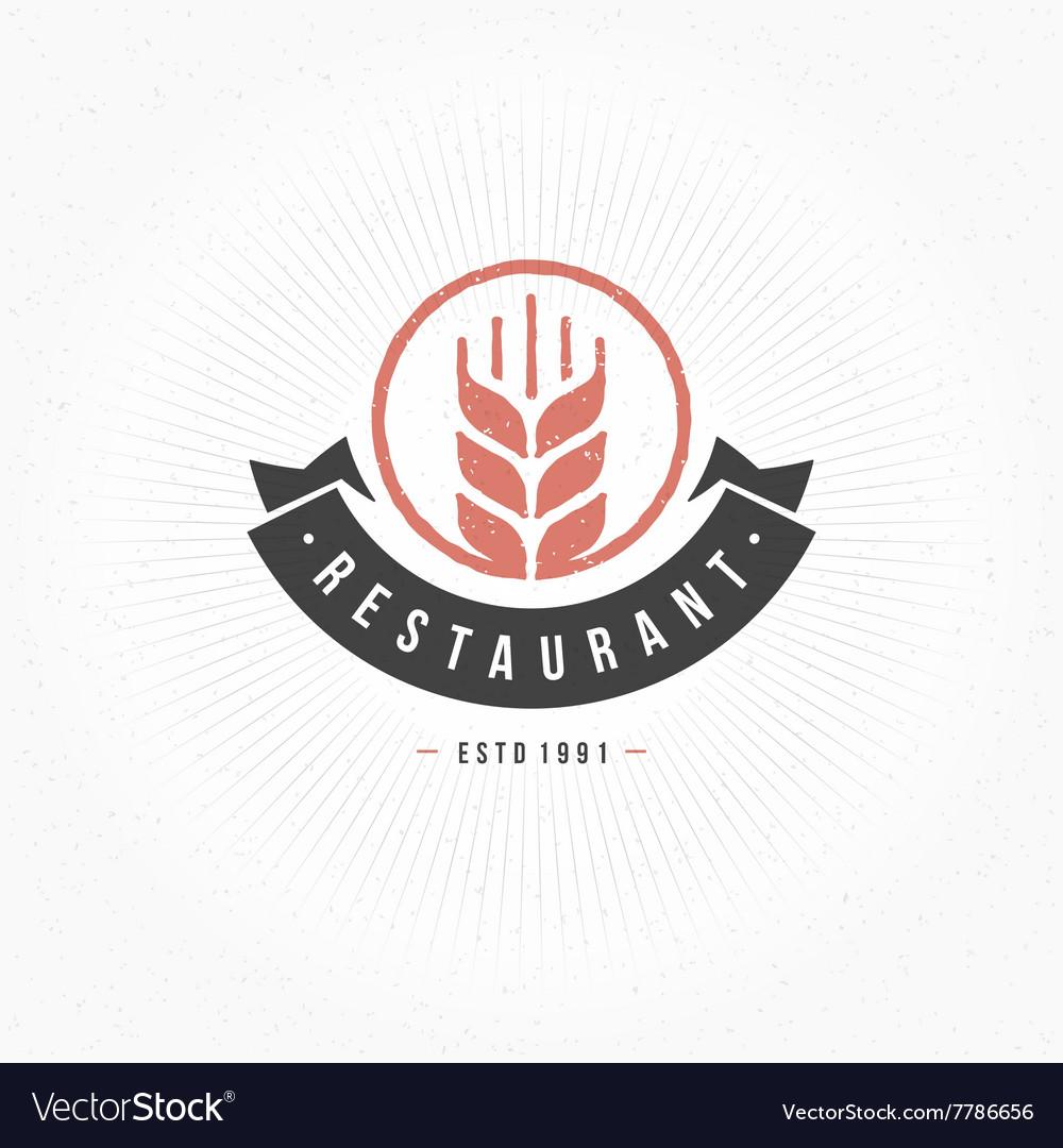 restaurant logo template design element royalty free vector